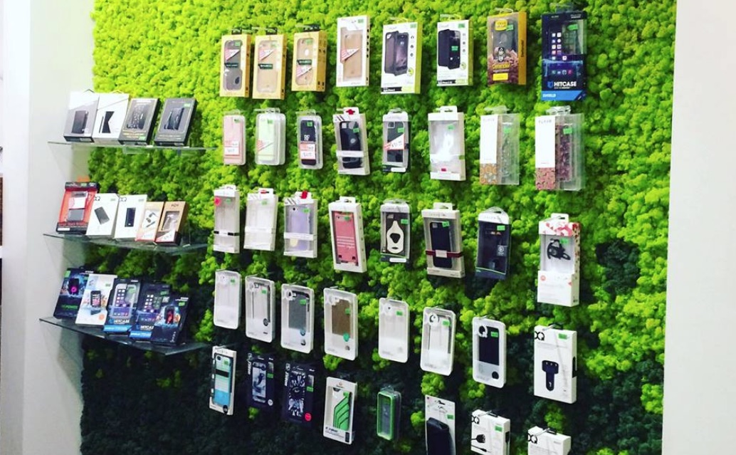 Phone Accessories with a green background
