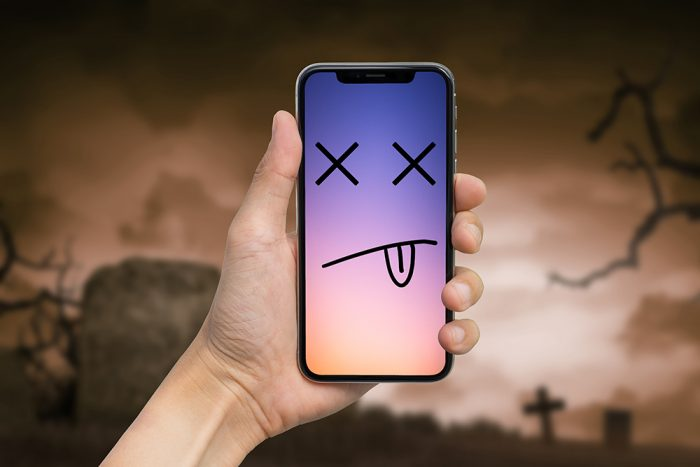 Phone with smiley